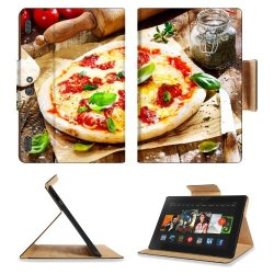 Pizza Dish Food Spices Tomatoes Cheese Dough Knife Fork Amazon Kindle Fire Hdx 8.9 [2013 Version] Premium Deluxe Pu Leather Flip Case Stand Magnetic Cover Open Ports Customized Made To Order Support Ready 9 13/16 Inch (250Mm) X 6 7/8 Inch (175Mm) X 11/16