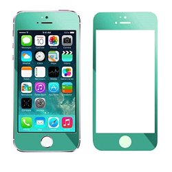 Coromose Colorful Plating Tempered Glass Screen Protector Film For Iphone 5 5S 5C (Green)