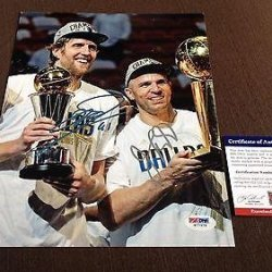 Dirk Nowitzki / Jason Kidd Dual Signed 8X10 Photograph Dallas Mavericks - Psa/Dna Certified - Autographed Nba Photos