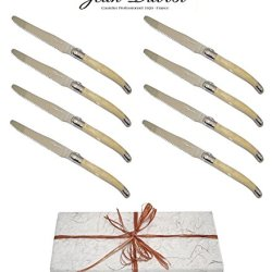 "Authentic Laguiole Dubost - Horn - 8 Round Tip Table Dinner Knives - Presented In Free Gift-Box - Each Knife: 9""/23Cm - Also Used As Butter Knife/Spreader (Serrated Wavy Edge - Original Genuine French Laguiole - Quality Family White Color Flatware/Cutlery"