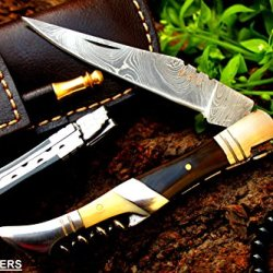 """Dkc-54 Squire Master Damascus Folding Laguiole Pocket Knife 4.5"""" Folded 8.5"""" Long 3.6Oz Oz High Class Looks Incredible Feels Great In Your Hand And Pocket Hand Made Dkc Knives Tm"""