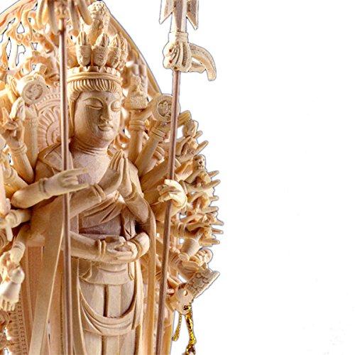 仏縁堂ブランド:仏像【香る檜(ひのき)・六角台飛天光背:千手観音3.5寸】仏壇・御本尊