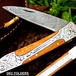 "Dkc-37 Victorian Damascus Folding Pocket Knife 8"" Long, 4.5"" Folded 4.3Oz Dkc Knives Hand Made Incredible Look And Feel"