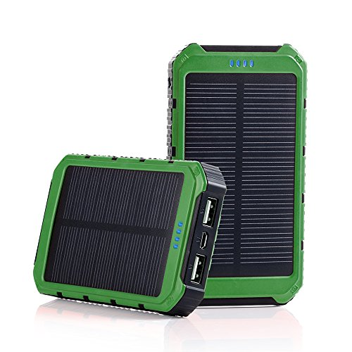 Grandbeing-10000mAh-Portable-Solar-Phone-Charger-External-Battery-Pack-Outdoor-Power-Bank-with-Dual-USB-and-LED-Light-for-Smartphone-and-Tablets-Army-Green