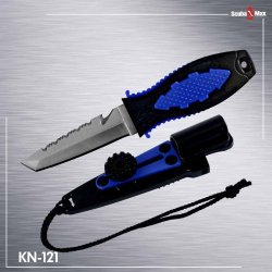 New 420 Stainless Steel Bcd Scuba Diving Knife With Sheath & Bolt/Nut Screw-On System For Mounting On Hose, Fabric Or Webbing - Tanto Tip (Blue)