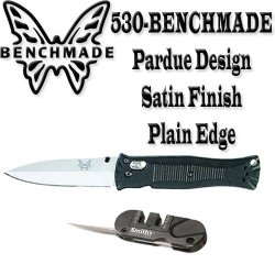 Benchmade 530 Pardue Design Axis Folder 3.25In. Plain Edge Blade & Famed Pocket Pal Sharpener For Plain & Serrated Edge Blades