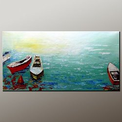 Large Painting Original Painting Oil Painting Boat Painting Contemporary Artwork Modern Art Canvas Art Impasto Texture Palette Knife Oil Painting Impressionism Wall Art Canvas Painting