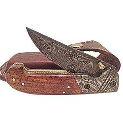 Deluxe Damascus Steel Blade Pocket Knife Wood Handle