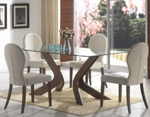 Image of 5pc Dining Set Glass Table Top Medium Walnut Finish (VF_Dinset-120361-120362)