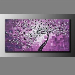 100% Hand-Painted Best-Selling Quality Goods Free Shipping Wood Framed On The Back Knife Painted Purple Bottom White Flowers High Q. Wall Decor Landscape Oil Painting On Canvas