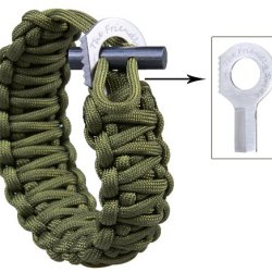The Friendly Swede (Tm) With Fire Starter And Sharp Eye Knife (Stainless Steel Grade Ss304) - Extra Beefy / Wide / Thick Adjustable Premium 500 Lb Paracord / Para-Cord Survival Bracelet - Adjustable Size Fits 7-9 Inch Wrists In Retail Packaging (Army Gree