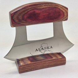 Alaska Ulu Knife Natrual Exotic Wood Stand Etched Blade