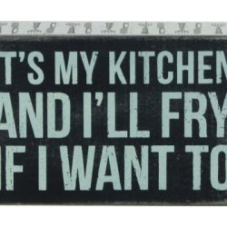 """It'S My Kitchen""... Hanging Or Standing Décor Wood Box Sign For The Home Bar - Office - Desk, Wall Or Tabletop Display 5.5"" X 3.5"""