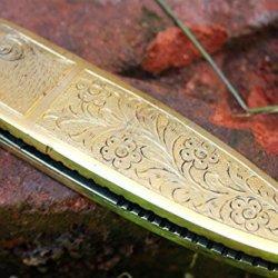 """Dkc-46 Golden Ram (Medium) Damascus Folding Pocket Knife Polished Brass 5"""" Folded, 8.5"""" Open, 12Oz Custom Engraved Dkc Knives Tm"""
