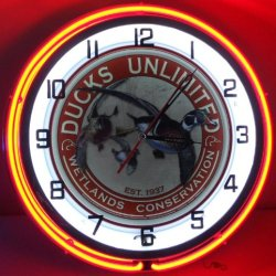 "Ducks Unlimited 18"" Double Neon Light Wall Clock Metal Sign"