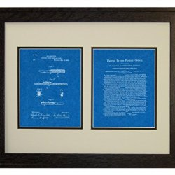 "Combined Pocket Knife And Rule Patent Art Blueprint Print In A Rustic Oak Wood Frame (16"" X 20"")"
