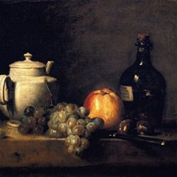 High Quality Fine Art Prints On Canvas - 16 X 12 Inch Arts & Crafts Still Life - White Teapot With White And Red Grapes, Apple, Chestnuts, Knife And Bottle - By Jean-Baptiste-Simeon Chardin