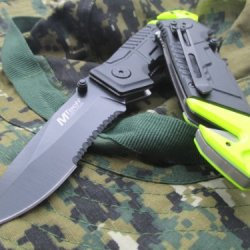 Tac-Force Linerlock Design A/O Speed Rescue Glass Breaker Knife - Black And Lime Green
