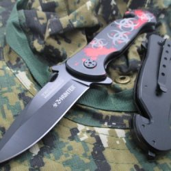 New Tac-Force Assisted Opening Linerlock Biohazard W/ Blood Splatter Design A/O Speed Rescue Glass Breaker Knife