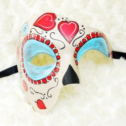 Ivory Red And Blue Half Face Mexican Sugar Skull Hand-Painted Paper Mache Mask