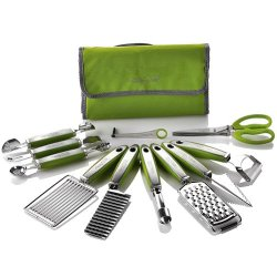 Wolfgang Puck 12 Pc Garnish Essentials Set With Storage Case (Green)