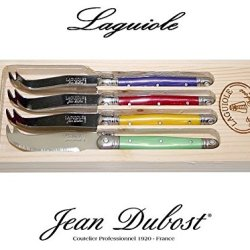 Laguiole Dubost - Set Of 4 Cheese Knives - Multi Rainbow Colors : Prince Purple - Yellow - Red - Mint Green (Stainless Steel Lemmet - French Genuine Quality Family Dinner Colour Table Flatware/Cutlery Dessert Setting For 4 People - Each Knife: 6 Inches -