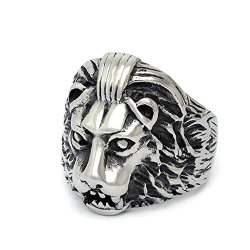 Mens Stainless Steel Rings Heigth 23.3 Mm Domineering Lion Black Size 12 - Adisaer Jewelry