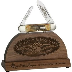 Queen Knives 3833 Schatt & Morgan Presidents Choice Commemorative Knife With Genuine Torched Sambar Stag Handles
