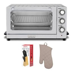 Cuisinart Tob-130 Deluxe Convection Toaster Oven Broiler + Oven Mitt + 7-Piece Knife Set W/ Pine Block (Stainless Steel)