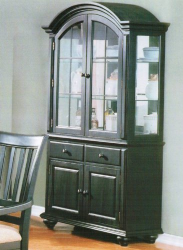 Image of China Cabinet Buffet Hutch - Contemporary Black Finish (VF_F6049)