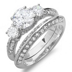 2.00 Ct Ladies Round Cubic Zirconia Cz Wedding Bridal Engagement Knife Edge Ring Set (Available In Size 6, 7) Size 7