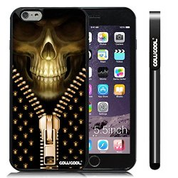 Cowcool® Apple Iphone 6 Plus [5.5 Inch] Soft Silicone Skull Cool Zipper With Black Shell Single Layer Protective Case (Style3)