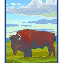 Yellowknife, Canada - Bison Solo (9X12 Art Print)