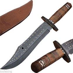 Custom Made Damascus Steel Bowie Knife W/ Pakka Wood Handle W/Sheath (Limited Edition)