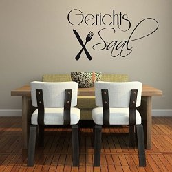 Wall Sticker Wall Decal For Kitchen Dining Room Dining With Knives And Forks - 71X40Cm - Grey