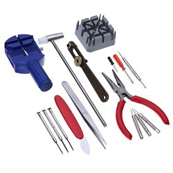 16-Piece Deluxe Repair Watch Opener Tool Kit Set Pin Strap Remover Battery Replacement