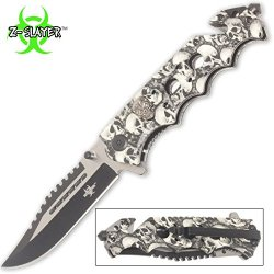 White Skulls Zombie Slayer Rescue Pocket Knife Assisted Opening