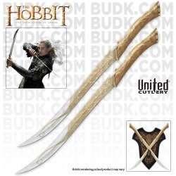 United Cutlery Uc3001 'The Hobbit' Fighting Knives Of Legolas Greenleaf With Display Plaque