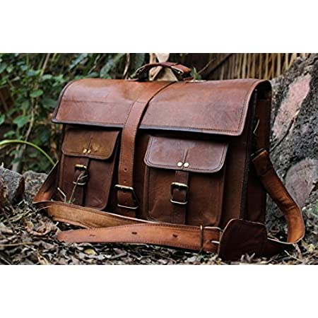 "handolederco. 18"" Inches Classic Adult Unisex Cross Shoulder 100% Genuine Leather Messenger Laptop Briefcase Bag Satchel Brown Carry your laptop, books, work documents and personal items comfortably and in style! You can now have a classic, vintage-s..."