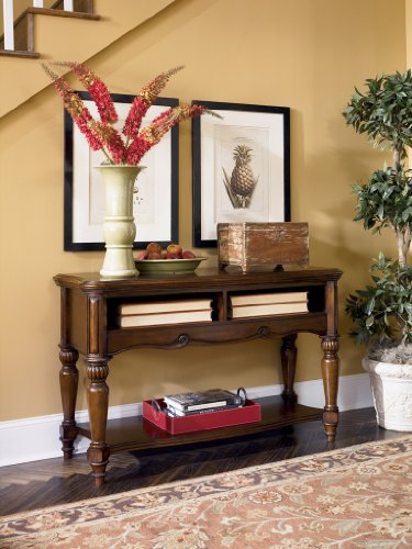 Image of Sofa Console Table in Warm Brown Finish (T844-4)