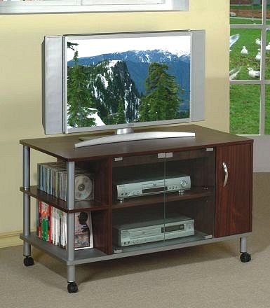 Image of All new item Brown finish TV stand with brushed steel accents (AMB F4418)
