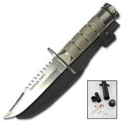 Silver Saw Back Survival Knife