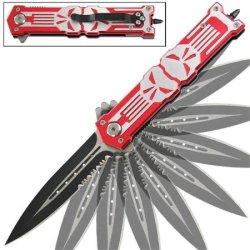 Punisher Glass Breaker Spring Assisted Knife Red