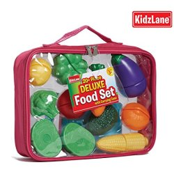 Pretend Play Food Set For Kids With Knife And Cutting Board And A Heavy-Duty Tote Bag