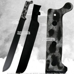 Full Tang Fixed Blade Jungle Machete Zombie Hunting Sword Saw Tooth Edge Rdpf