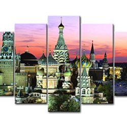 5 Panel Wall Art Painting Cathedral Russia Red Square In Moscow Pictures Prints On Canvas City The Picture Decor Oil For Home Modern Decoration Print