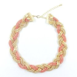 Moon Gazer Fashion All-Match Noble Twinkling Glitter Golden & Pink Multiple Pattern Chain Woven Statement Adjustable Extended Chain Necklace Collar Necklace Jewelry For Women Lady