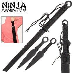 Pa0269-Bk 27 Inch Ninja Sin Sword W/ 2 Throwing Stars Su17Pbx - Eofen2Xp7G Black 78Tyughbn Eiw2Bghrtyu344 45Sgwq 27 Inch Overall Length. 7.85 Inch Handle Wrapped In N8Pmornr6T Thick, Black Paracord. Includes Free Nylon Sheath With Velcro Ties Vhvakzrxhj A