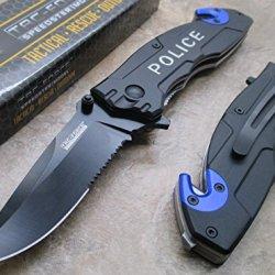 Tac Force Rescue Folder - Police Half Serrated Black Stainless Steel Blade Knife