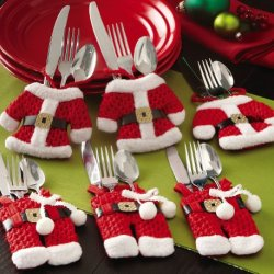 Santa Claus Clause Christmas Silverware Holders Pockets Holiday Decor Festive Brand New -6 Pc Set.(3 Jackets And 3 Pairs Of Pants)